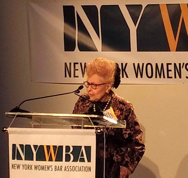 Justice Ellerin accepting NYWBA award